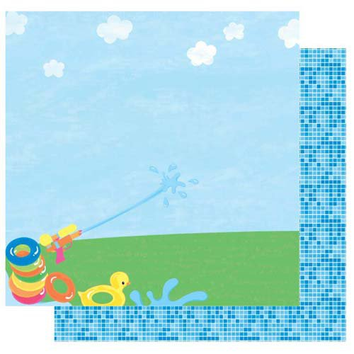 Best Creation Inc - Splash Fun Collection - 12 x 12 Double Sided Glitter Paper - Get Wet