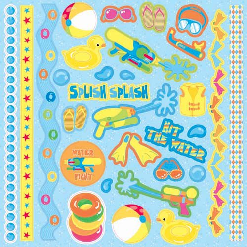 Best Creation Inc - Splash Fun Collection - Glitter Cardstock Stickers - Element