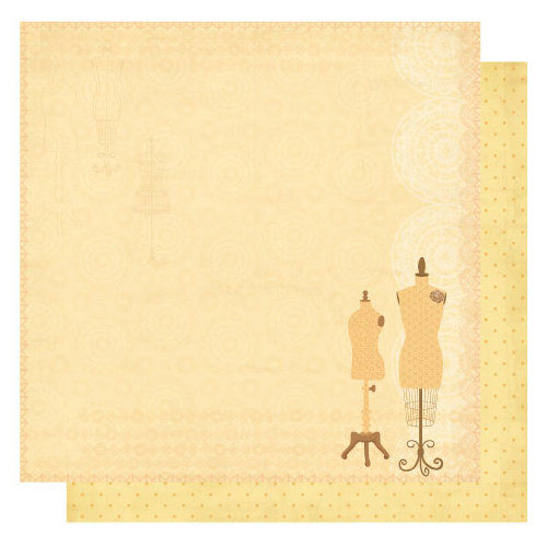 Best Creation Inc - Sew Pretty Collection - 12 x 12 Double Sided Glitter Paper - Retro Mannequin