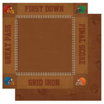 Best Creation Inc - Touchdown Collection - 12 x 12 Double Sided Glitter Paper - First Down