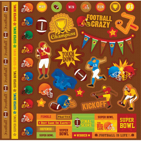 Best Creation Inc - Touchdown Collection - Glitter Cardstock Stickers - Element