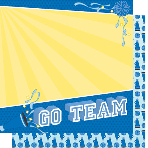 Best Creation Inc - Team Spirit Collection - 12 x 12 Double Sided Glitter Paper - Go Team