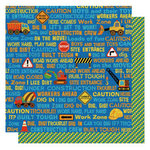 Best Creation Inc - Under Construction Collection - 12 x 12 Double Sided Glittered Paper - Construction Words