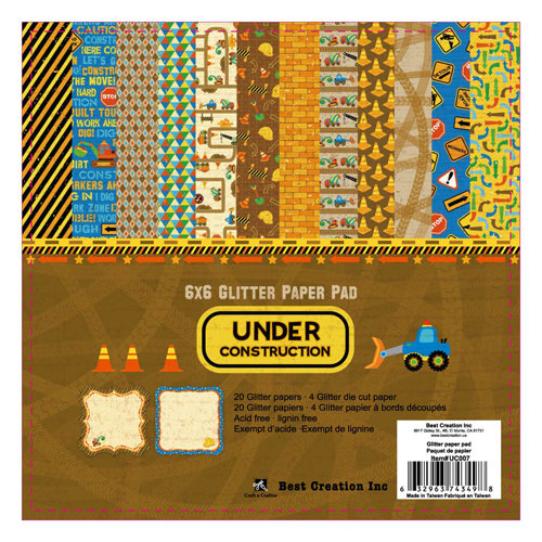 Best Creation Inc - Under Construction Collection - 6 x 6 Glittered Paper Pad
