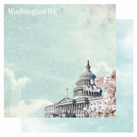 Best Creation Inc - USA Collection - 12 x 12 Double Sided Glitter Paper - Washington D.C.