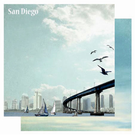 Best Creation Inc - USA Collection - 12 x 12 Double Sided Glitter Paper - San Diego