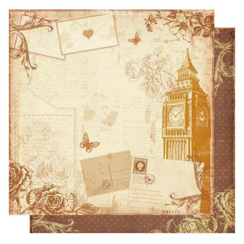 Best Creation Inc - Vintage Travel Collection - 12 x 12 Double Sided Glittered Paper - Big Ben London