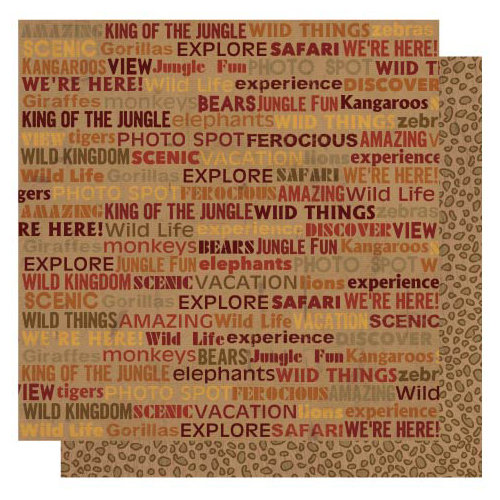 Best Creation Inc - Wild Life Collection - 12 x 12 Double Sided Glitter Paper - Wild Life Words