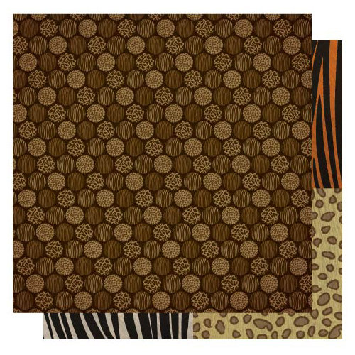 Best Creation Inc - Wild Life Collection - 12 x 12 Double Sided Glitter Paper - Safari Dots