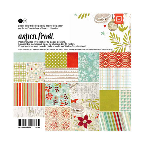 BasicGrey - Aspen Frost Collection - Christmas - 6 x 6 Paper Pad