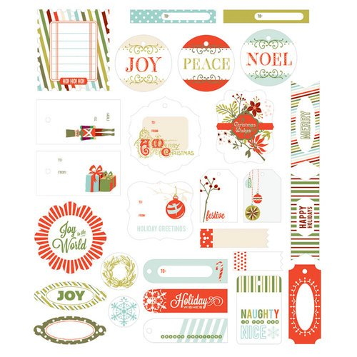 BasicGrey - Aspen Frost Collection - Christmas - Die Cut Cardstock Pieces - Shapes