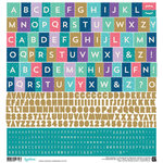 BasicGrey - Aurora Collection - 12 x 12 Cardstock Stickers - Alphabet