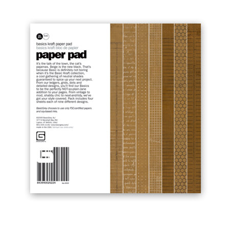 BasicGrey - Basic Kraft Collection - 6 x 6 Paper Pad