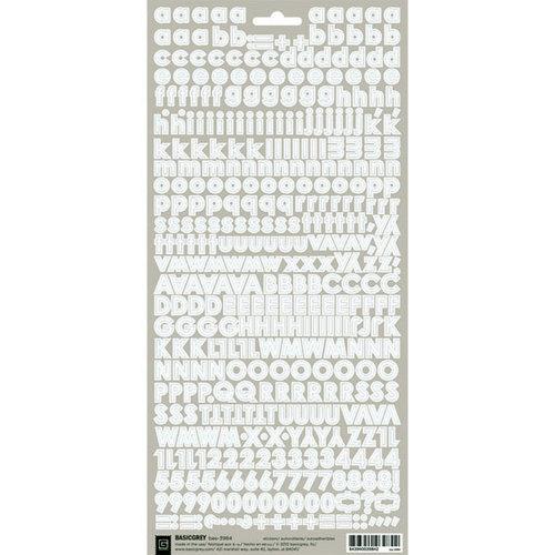 BasicGrey - Micro Monogram Stickers - Alphabet - White