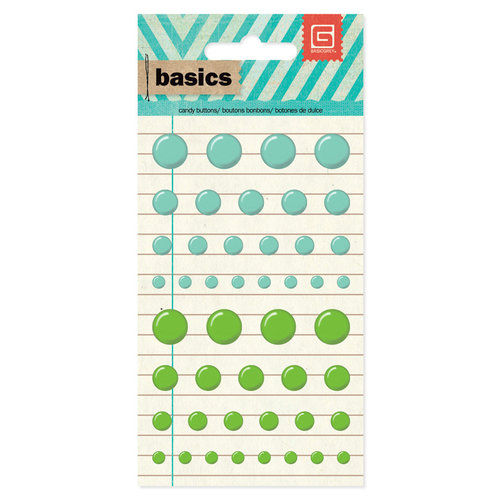 BasicGrey - Basics Collection - Candy Buttons - Aqua and Green
