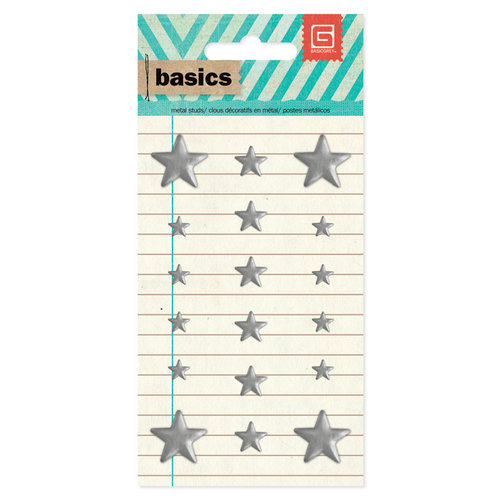 BasicGrey - Basics Collection - Metal Studs - Silver Stars