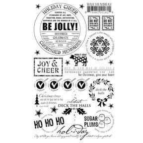 Basic Grey Wholy Cow! Rub-ons - Holiday Cheer - Black