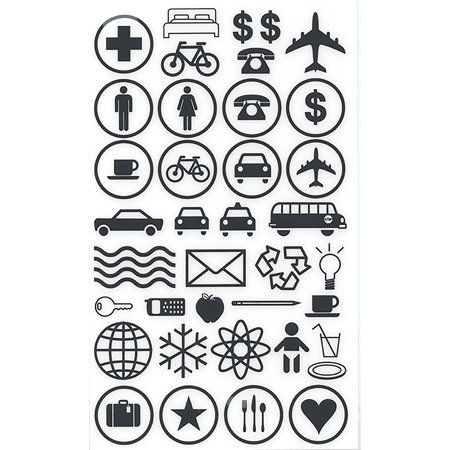 BasicGrey Element Rub Ons - Symbols - Black, CLEARANCE