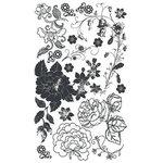 BasicGrey Element Rub Ons - Roses - Black