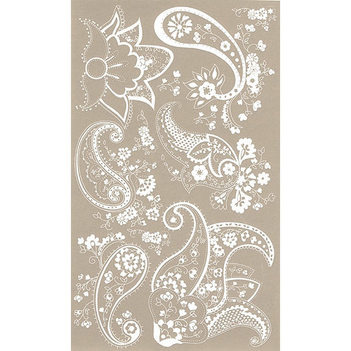 BasicGrey Element Rub Ons - Paisley - White