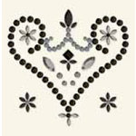 BasicGrey - Bling It Collection - Rhinestones - Designer Royal Heart - Black, CLEARANCE