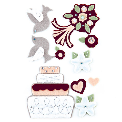 BasicGrey - Cappella Collection - Woolies - 3 Dimensional Felt Stickers, CLEARANCE