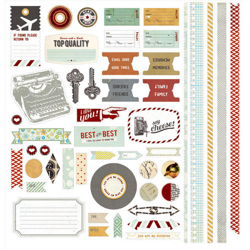 BasicGrey - Clippings Collection - 12 x 12 Element Stickers - Shapes