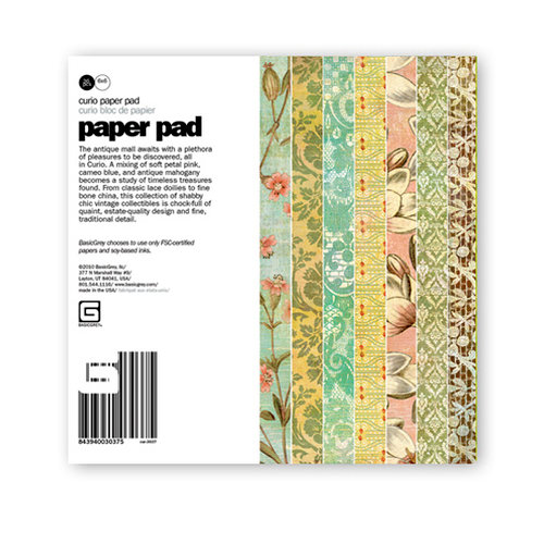 BasicGrey - Curio Collection - 6 x 6 Paper Pad, BRAND NEW