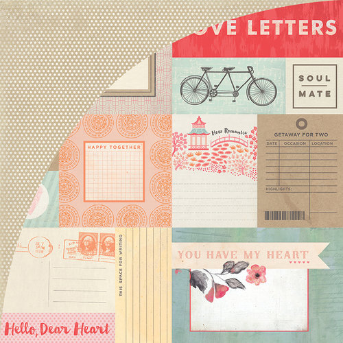 BasicGrey - Dear Heart Collection - 12 x 12 Double Sided Paper - Journaling Cards