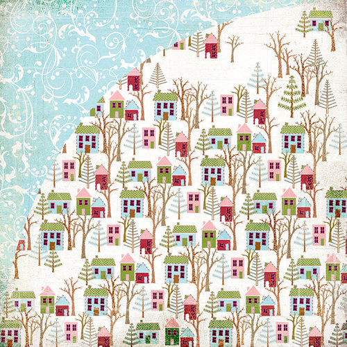BasicGrey - Eskimo Kisses Collection - Christmas - 12 x 12 Double Sided Paper - Rooftop