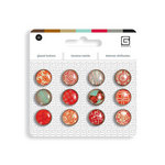 BasicGrey - Notions Collection - Glazed Buttons - Crimson
