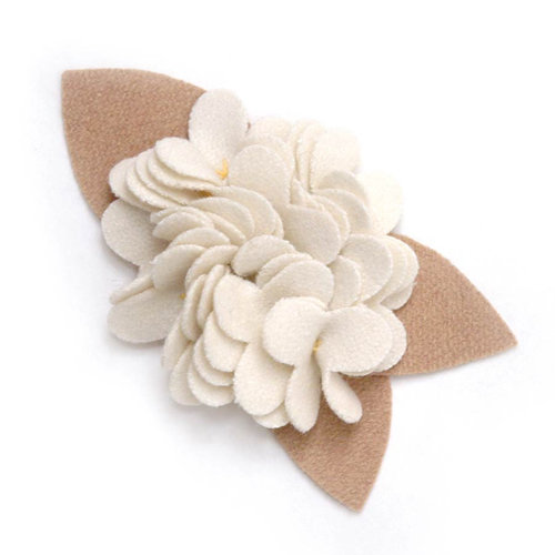 BasicGrey - Notions Collection - Wool Felt Flowers - Burst Blossom - Linen