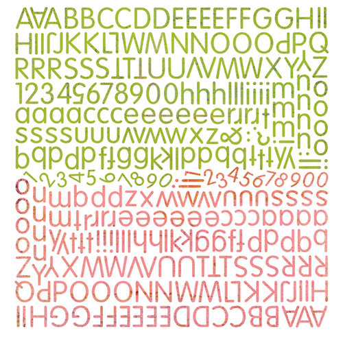 BasicGrey - Green at Heart Collection - 12 x 12 Alphabet Stickers
