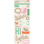 BasicGrey - Hillside Collection - Printed Chipboard Stickers - Shapes