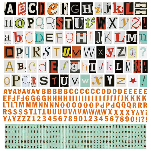 BasicGrey - Hipster Collection - 12 x 12 Alphabet Stickers