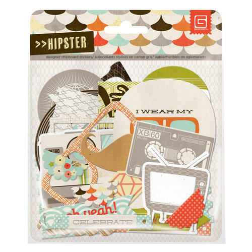 BasicGrey - Hipster Collection - Adhesive Chipboard - Shapes