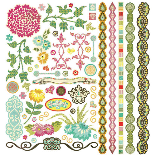 BasicGrey - Hello Luscious Collection - 12 x 12 Element Stickers - Shapes
