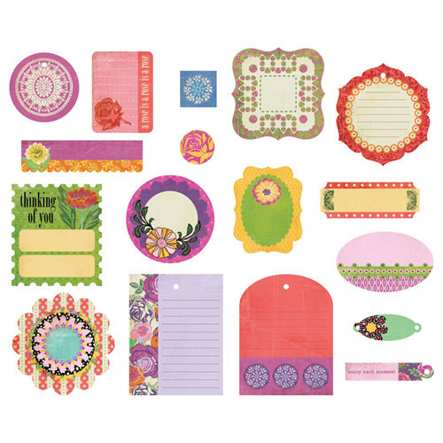 BasicGrey - Indie Bloom Collection - Die Cut Cardstock Pieces - Shapes