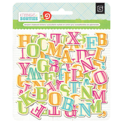 BasicGrey - Knee Highs and Bow Ties Collection - Adhesive Chipboard - Alphabet
