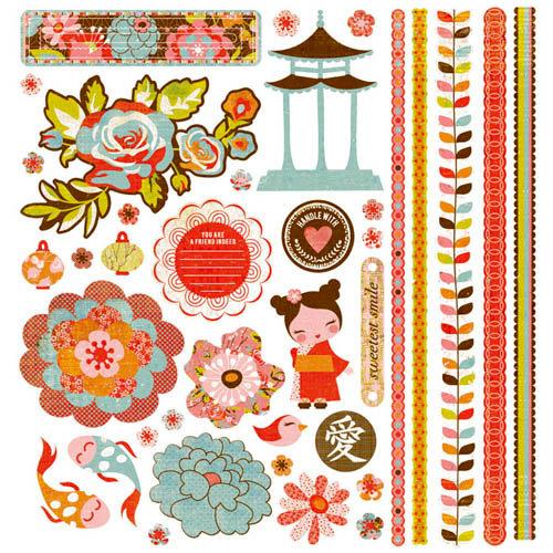 BasicGrey - Konnichiwa Collection - 12 x 12 Element Stickers - Shapes