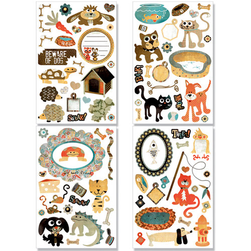 BasicGrey - Max and Whiskers Collection - Adhesive Chipboard - Shapes, CLEARANCE