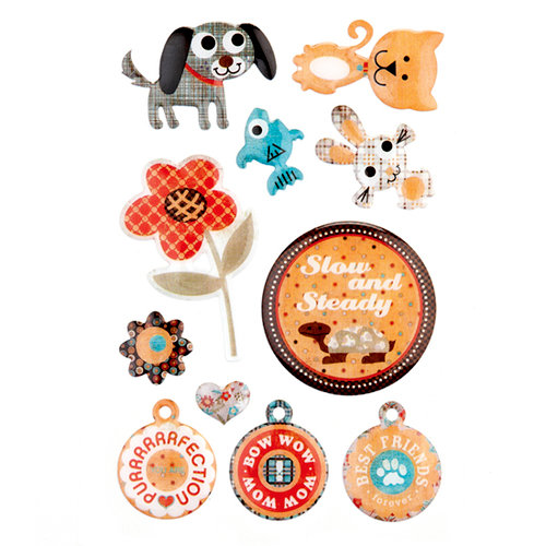 BasicGrey - Max and Whiskers Collection - Epoxy Stickers, CLEARANCE