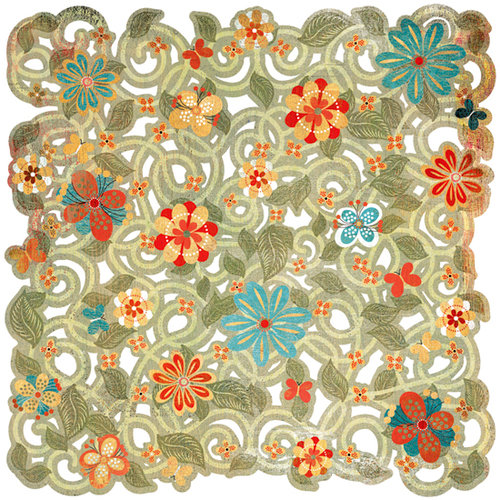 BasicGrey - Max and Whiskers Collection - Doilies - 12 x 12 Die Cut Paper - Daisy Maze, CLEARANCE