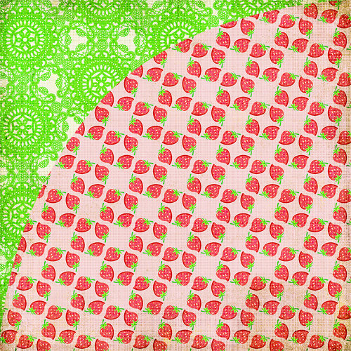 BasicGrey - Nook and Pantry Collection - 12 x 12 Double Sided Paper - Strawberry Shortcake, CLEARANCE