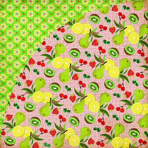 BasicGrey - Nook and Pantry Collection - 12 x 12 Double Sided Paper - Fruit Salad, CLEARANCE