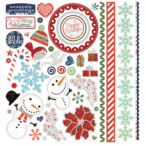 BasicGrey - Nordic Holiday Collection - Christmas - 12 x 12 Element Stickers - Shapes
