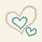BasicGrey - Opaline Collection - Pearls - Heart Trio Half Pearls - Aqua, CLEARANCE