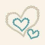 BasicGrey - Opaline Collection - Pearls - Heart Trio Half Pearls - Aqua, CLEARANCE
