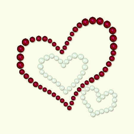 BasicGrey - Opaline Collection - Pearls - Heart Trio Half Pearls - Cherry, CLEARANCE