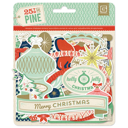 BasicGrey - 25th and Pine Collection - Christmas - Chipboard Stickers - Shapes